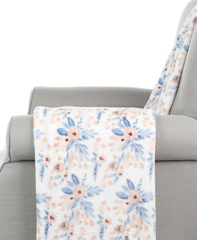 Blue Floral Print Velvet Throw (17852)