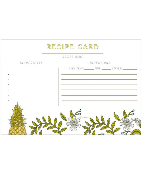 Pineapple Flower Recipe Card Set