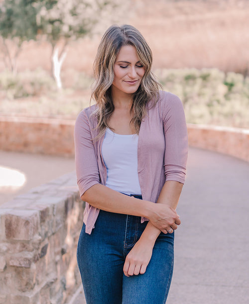 Dusty Pink 'Bree' Ribbed Cardigan (13381-63)