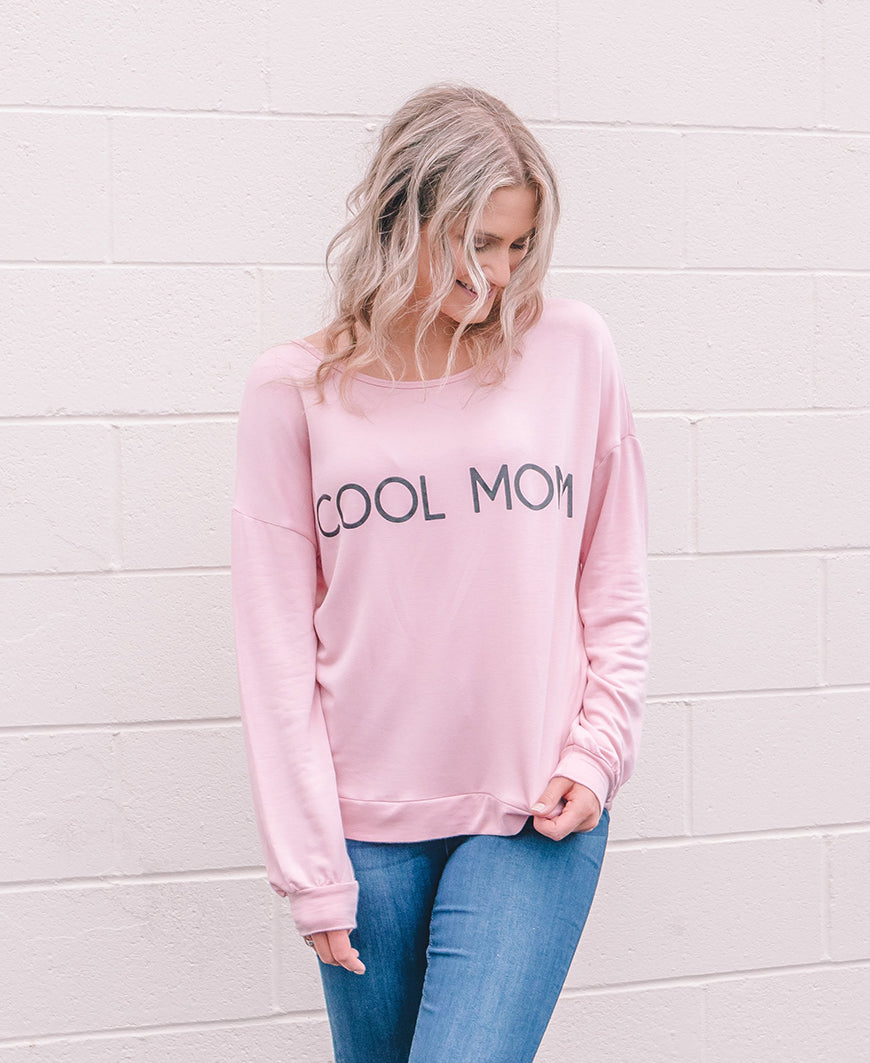 Blush Cool Mom Graphic Sweatshirt Top (14576-380CM)