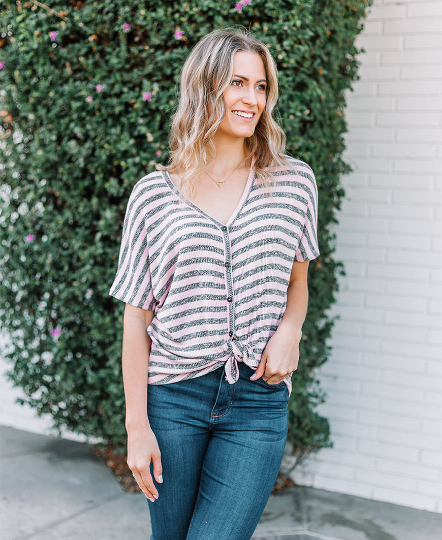 Striped 'Kacey' Tie Front Top (14487-676)