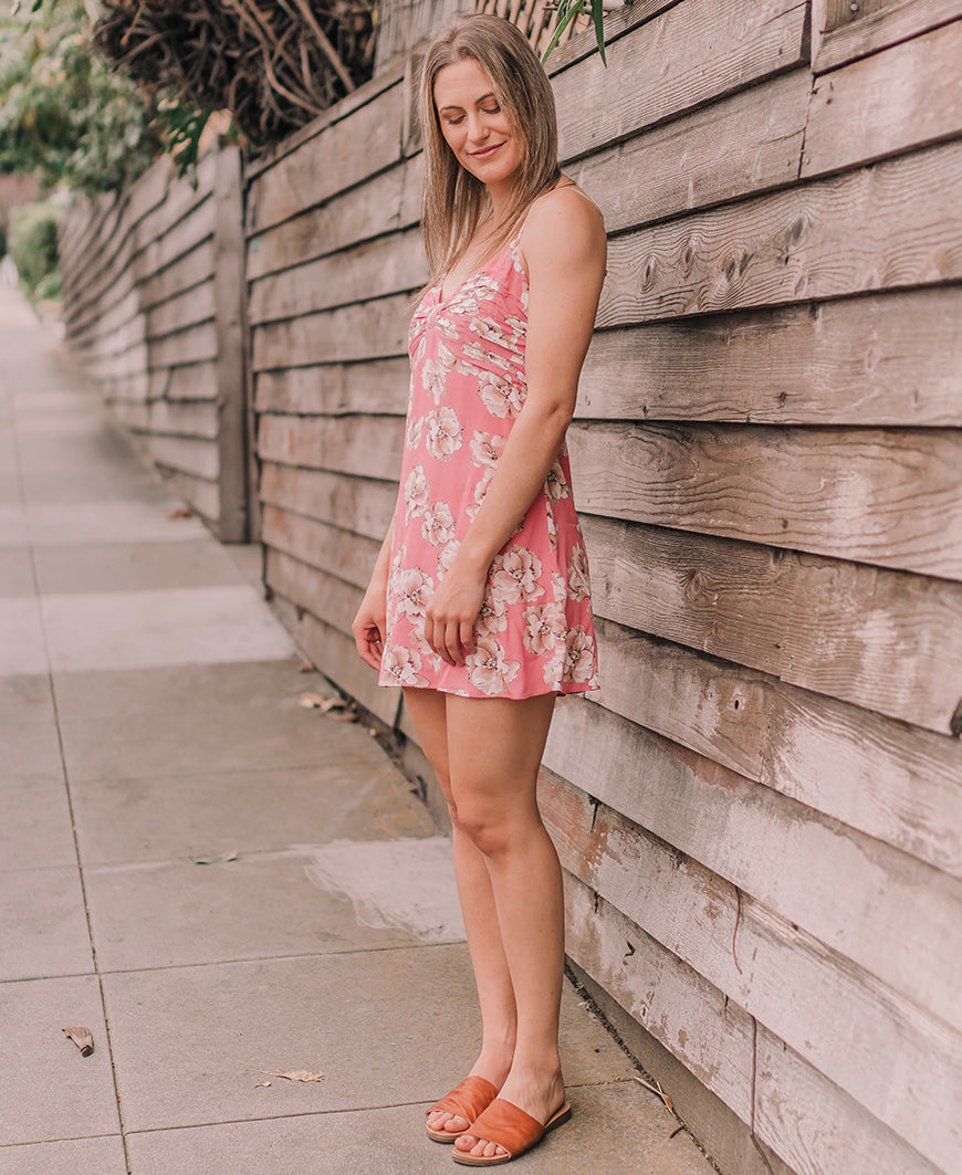 Pink Floral Mini Dress (YD518A)