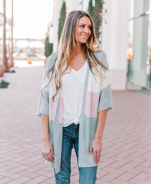 Grey and Pink 1/2 Sleeve Colorblock Cardigan (SL9604)