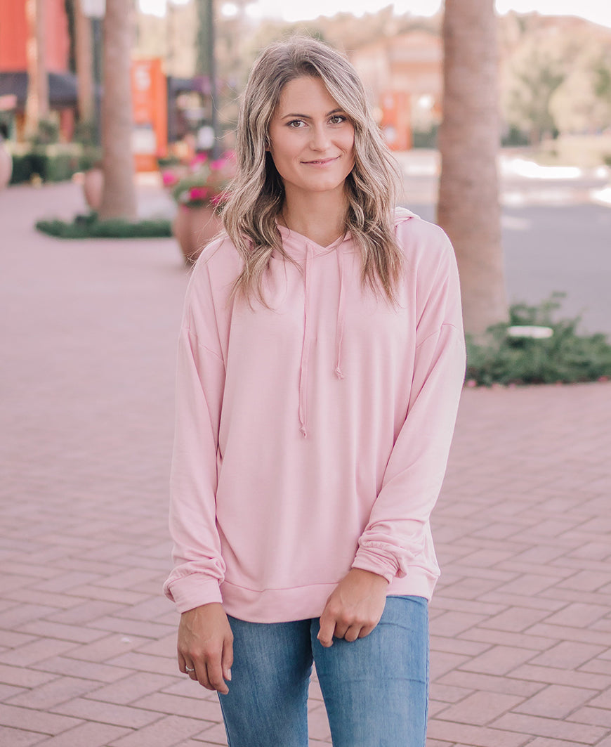 Blush Long Sleeve Hooded Top (14960)