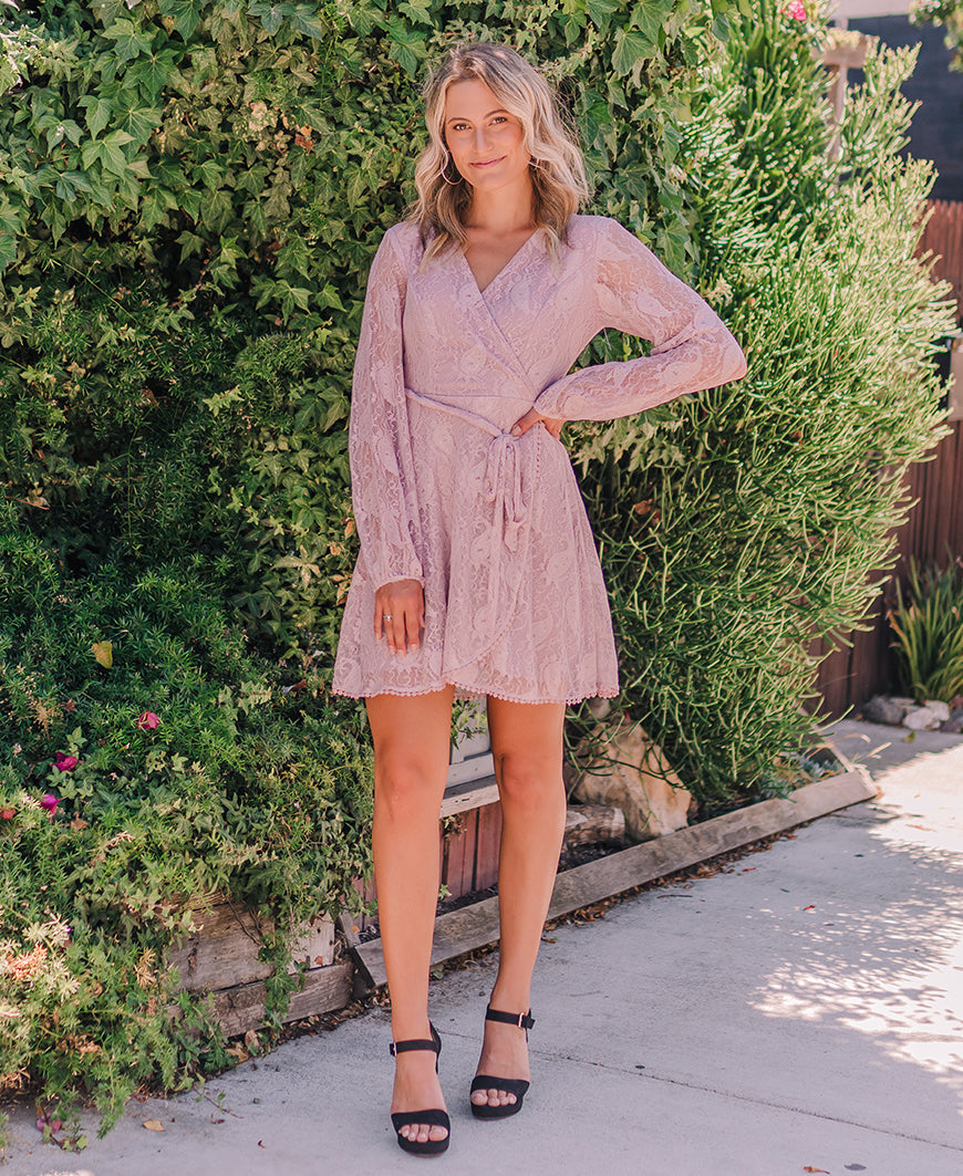 Mauve 'Reese' Long Sleeve Lace Dress (15213)