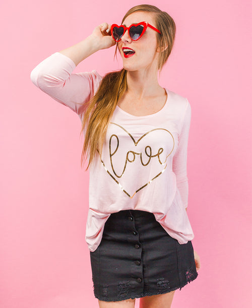Pink Gold Foil Love Heart Tee