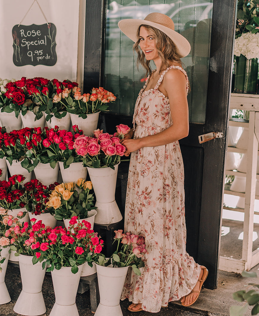 Floral Ruffle Lace Up Maxi Dress (I-71880WL)