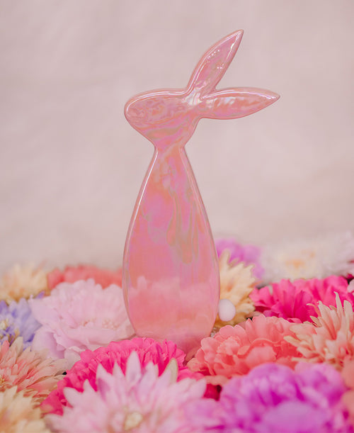 Pink Iridescent Bunny Statuette (A3606M)