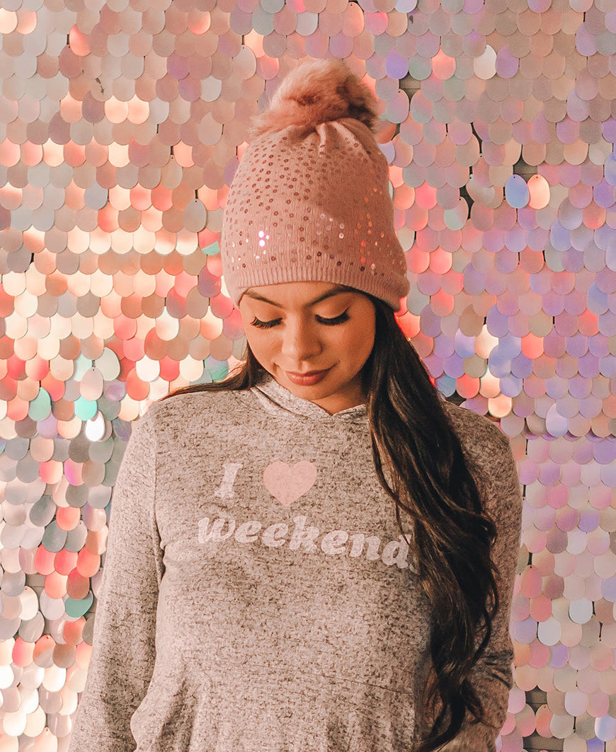 Pink Sequin Fleece Lined Beanie (MMQ7006)
