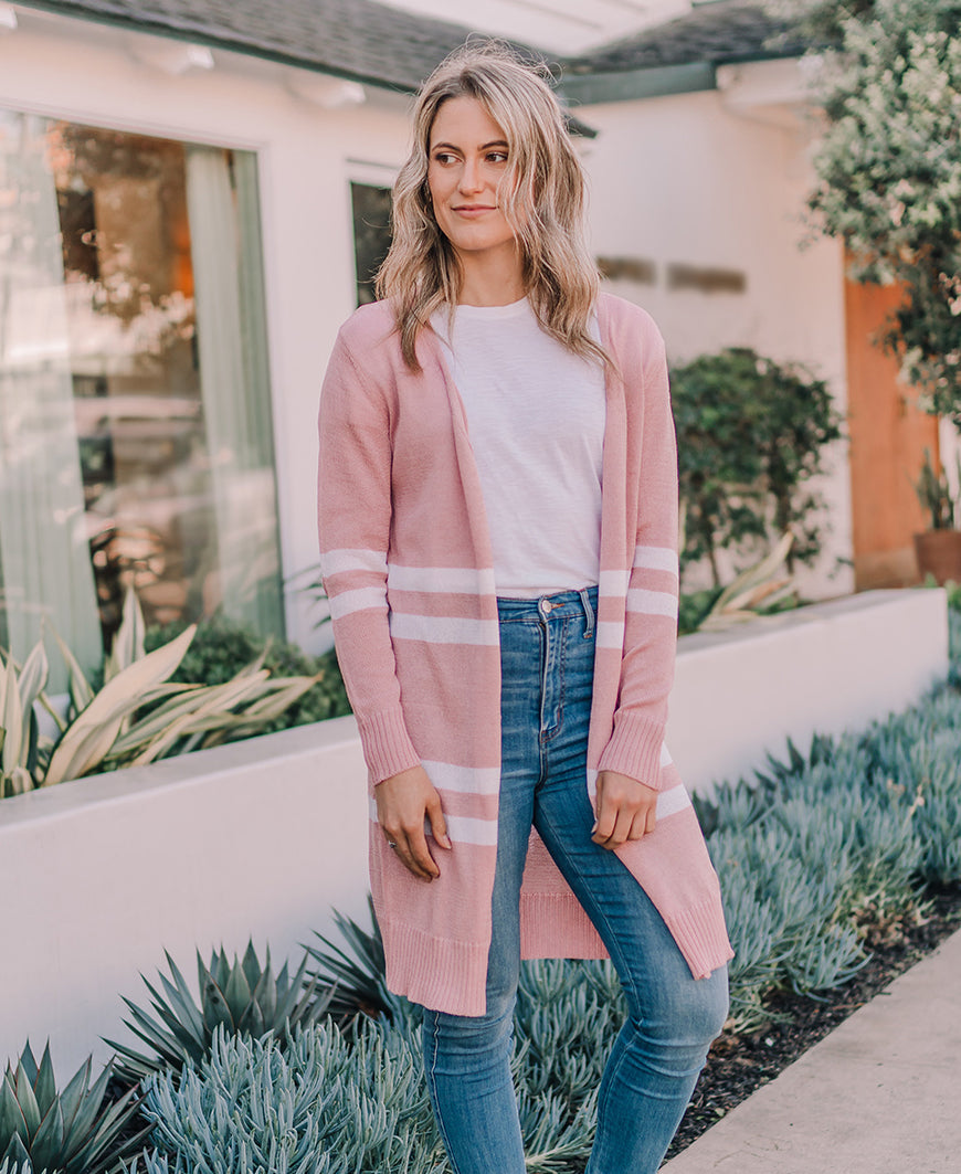 Blush Varsity Stripe Cardigan (TR7100)