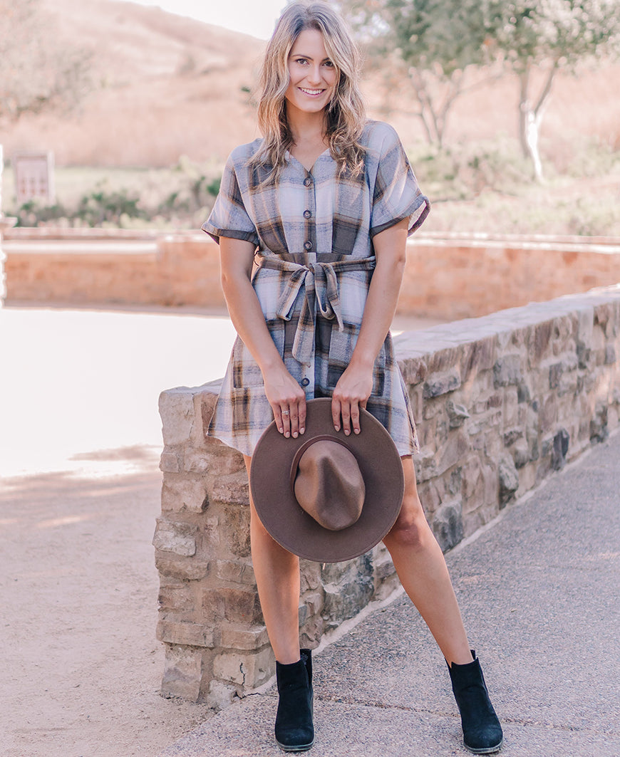 Flannel Button Down Mini Dress (M8FD1061)