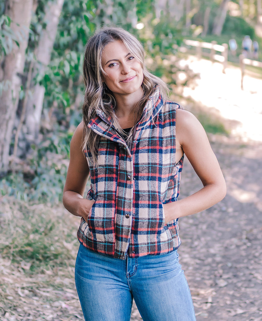 Plaid Button Down Vest (VT90310)