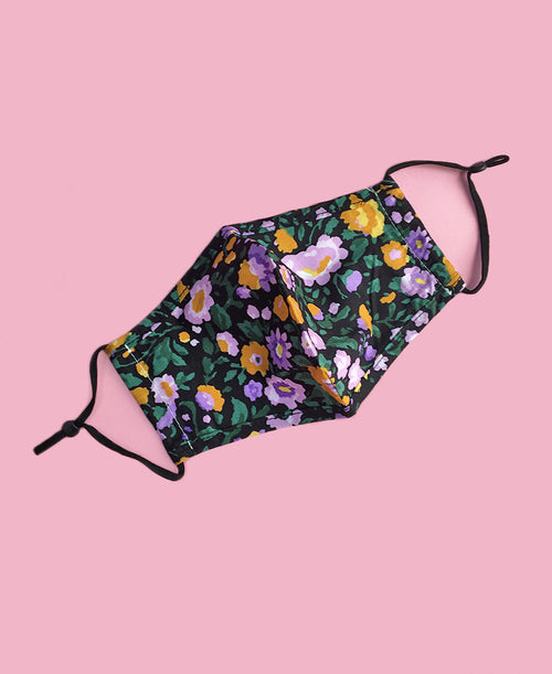 black lilac purple mustard yellow floral cute fall face mask with adjustable ear bands and inner filter pocket
