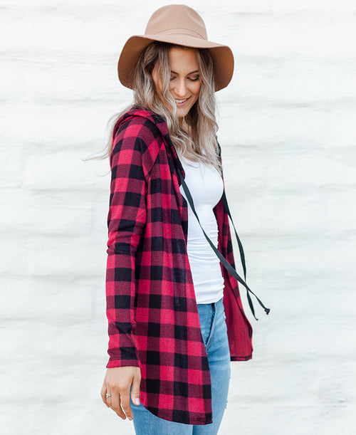 Red & Black Buffalo Plaid 'Liz' Cardigan