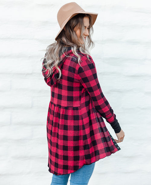 Red & Black Buffalo Plaid 'Kim' Babydoll Hoodie