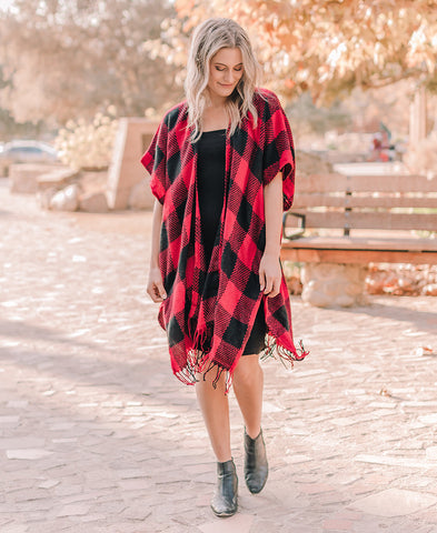 Charcoal Buffalo Plaid Velvet Robe (15319)