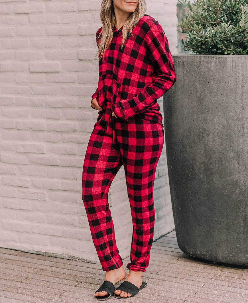 Red Buffalo Check 'Corbyn' Jogger Pants (15092)