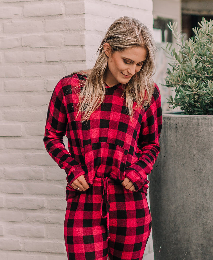 Red Buffalo Check 'Hailey' Hoodie Top (15090)