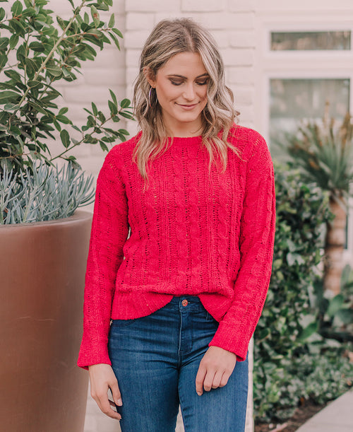 Red Cable Knit Pullover Sweater (W9001)