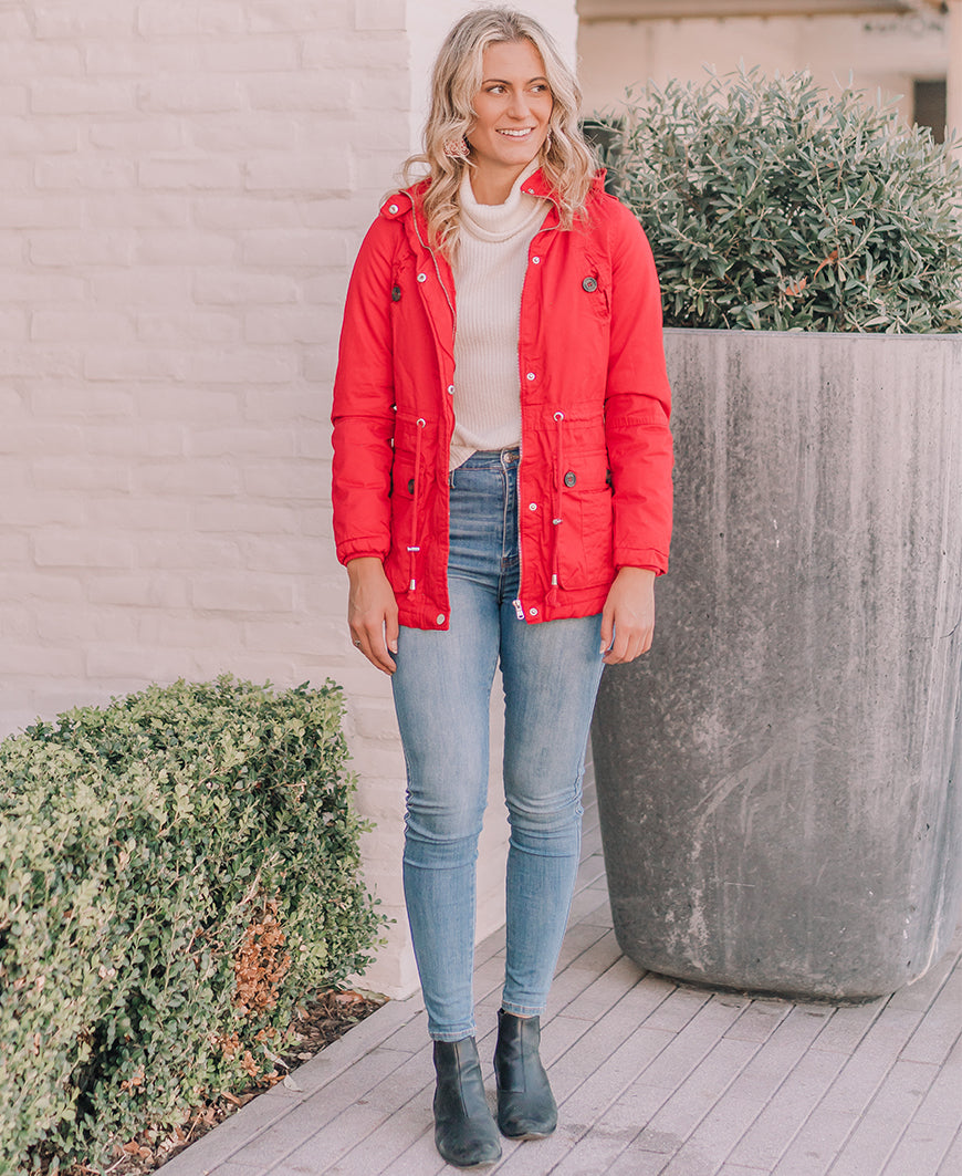 Red Faux Fur Hood Jacket (SN1102)