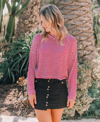 Burgundy Striped Sweater Top (K5704ST)