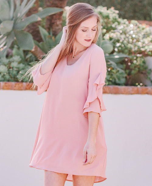 Rose V-Neck Ruffle Sleeve Dress