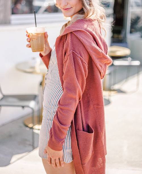 Rosewood Long Knit Hooded Cardigan