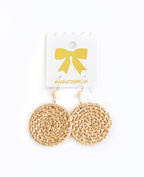 Round Straw Earrings