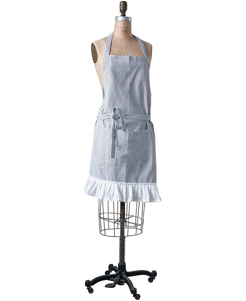 Black and Cream Striped Cotton Ruffle Apron (CURBSIDE PICK UP)
