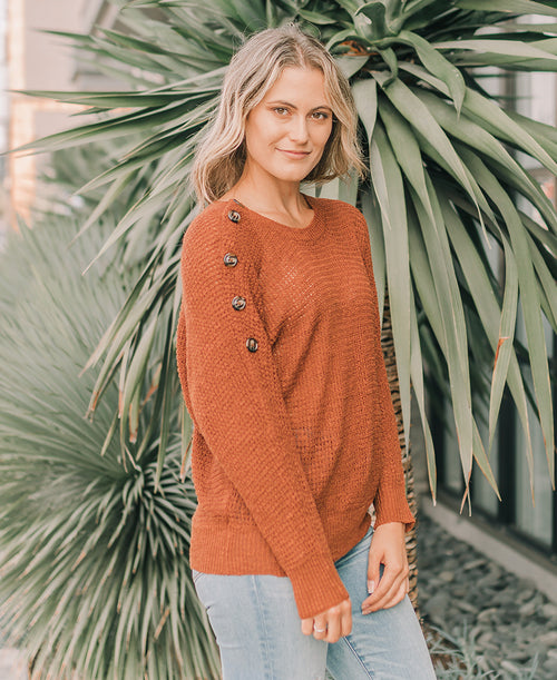 Rust Button Sleeve Sweater (TB5103)