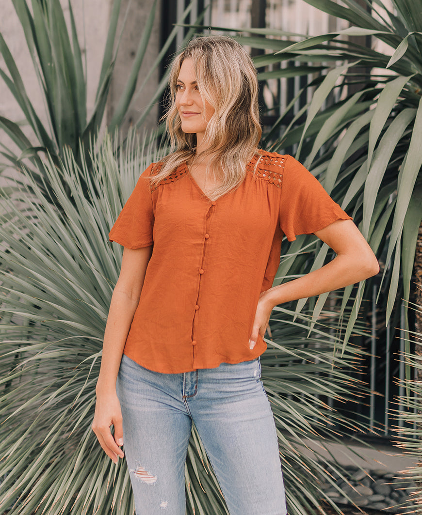 Rust Boho Button Top (TB5290)