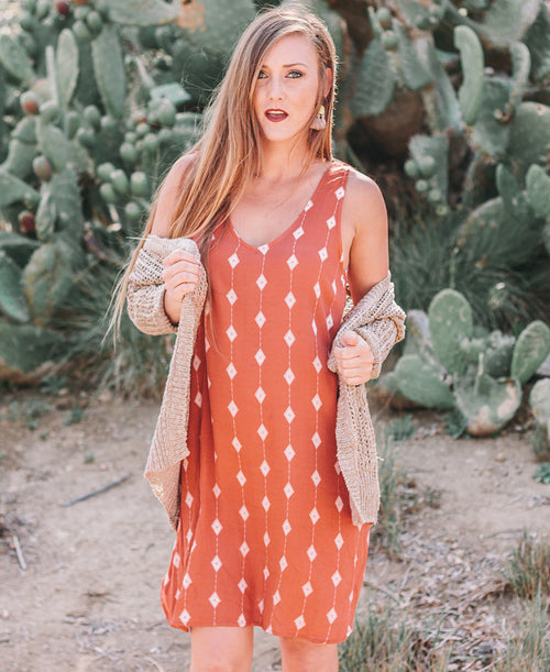 Rust Diamond V-Neck Dress