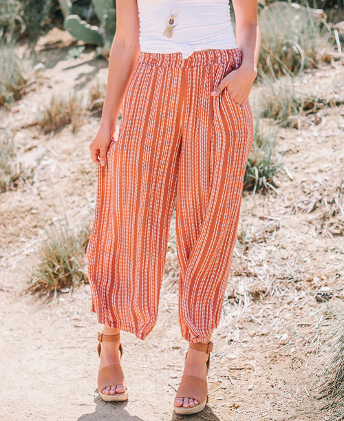 Rust Elastic Waist Wide Leg Striped Pants