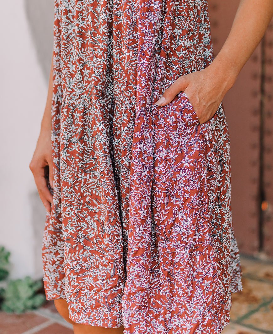 Rust Floral Strappy Dress (ID30400B)