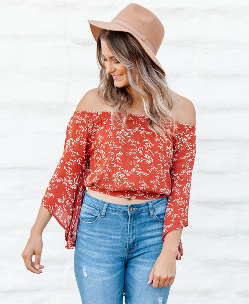 Rust Off-the-Shoulder Bell Sleeve Blouse