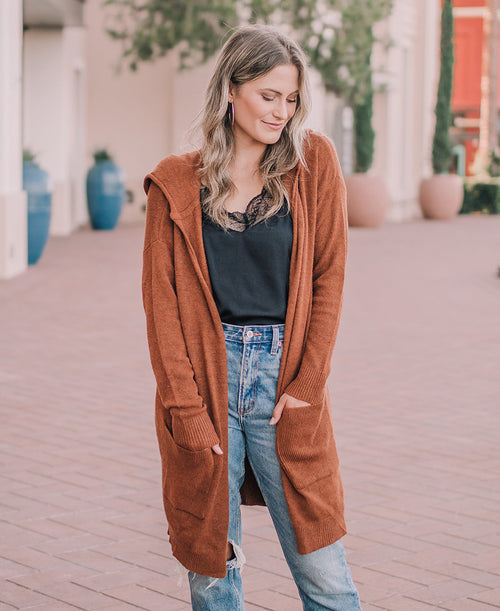 Burnt Orange Long Hooded Cardigan (3739)