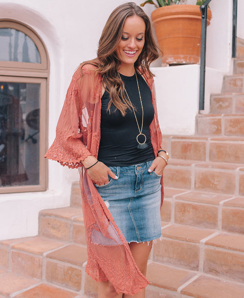 Rust Lace Mesh Duster
