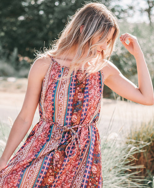 Multicolor Boho Print Midi Dress
