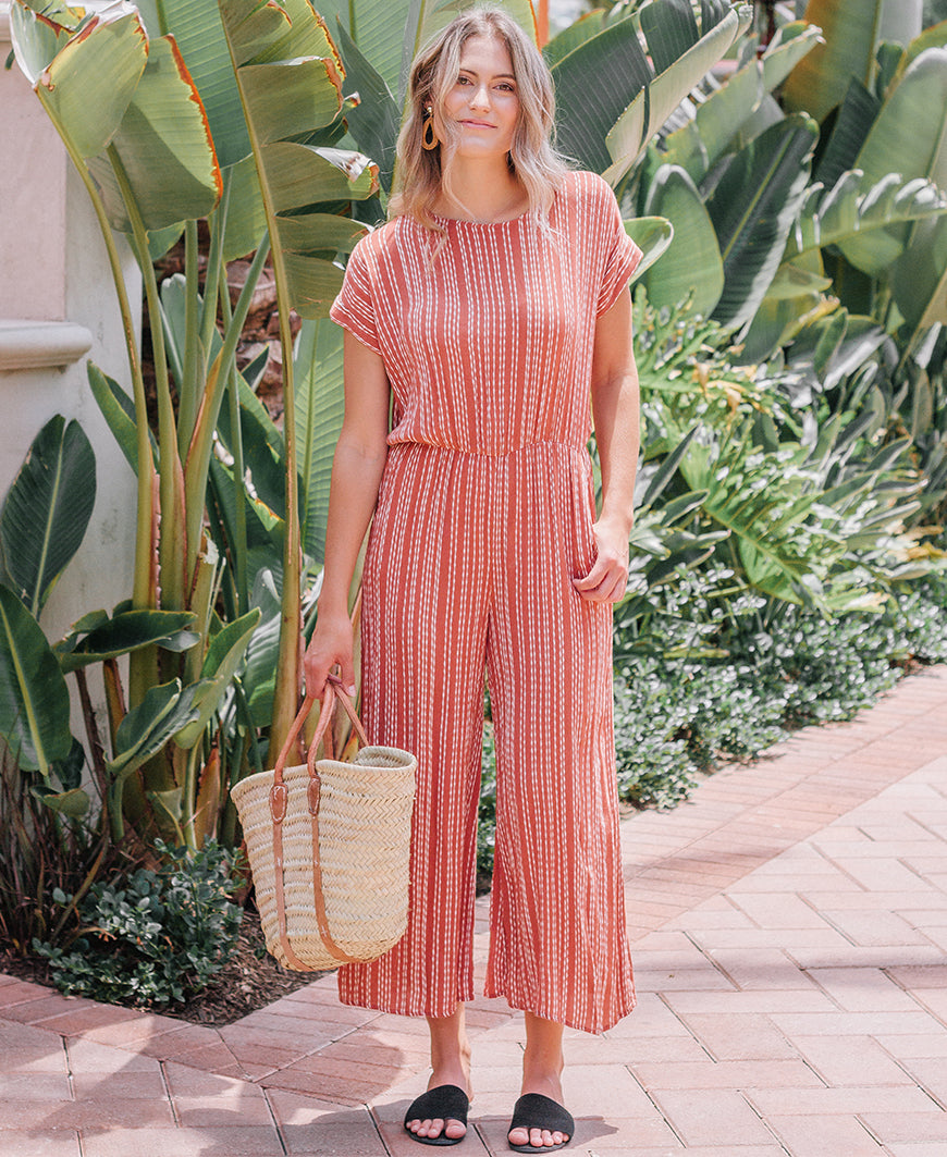 Rust Striped Tie Back Jumpsuit