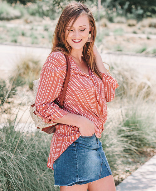 Rust Surplice Blouse