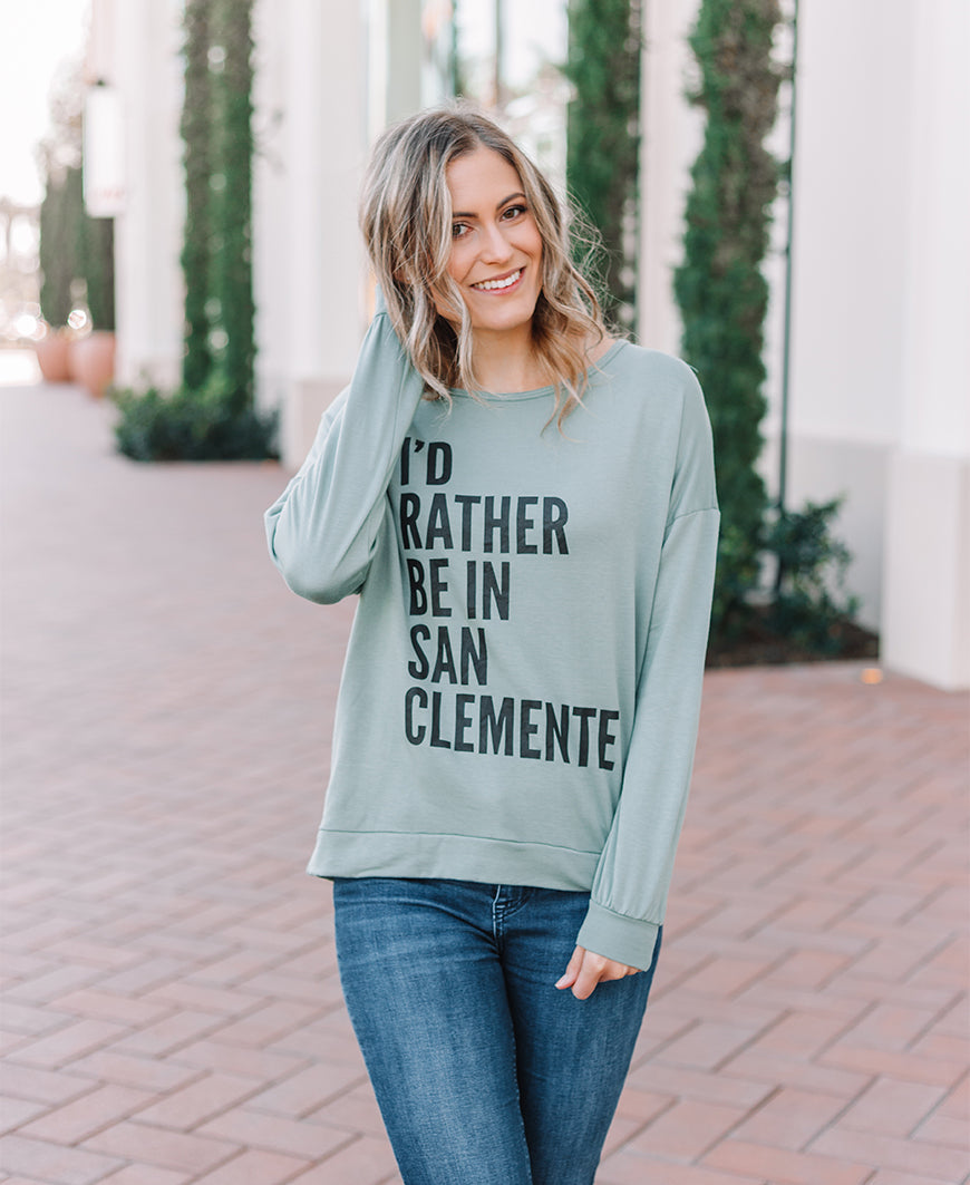 Sage San Clemente Graphic Sweatshirt Top (14576-380)
