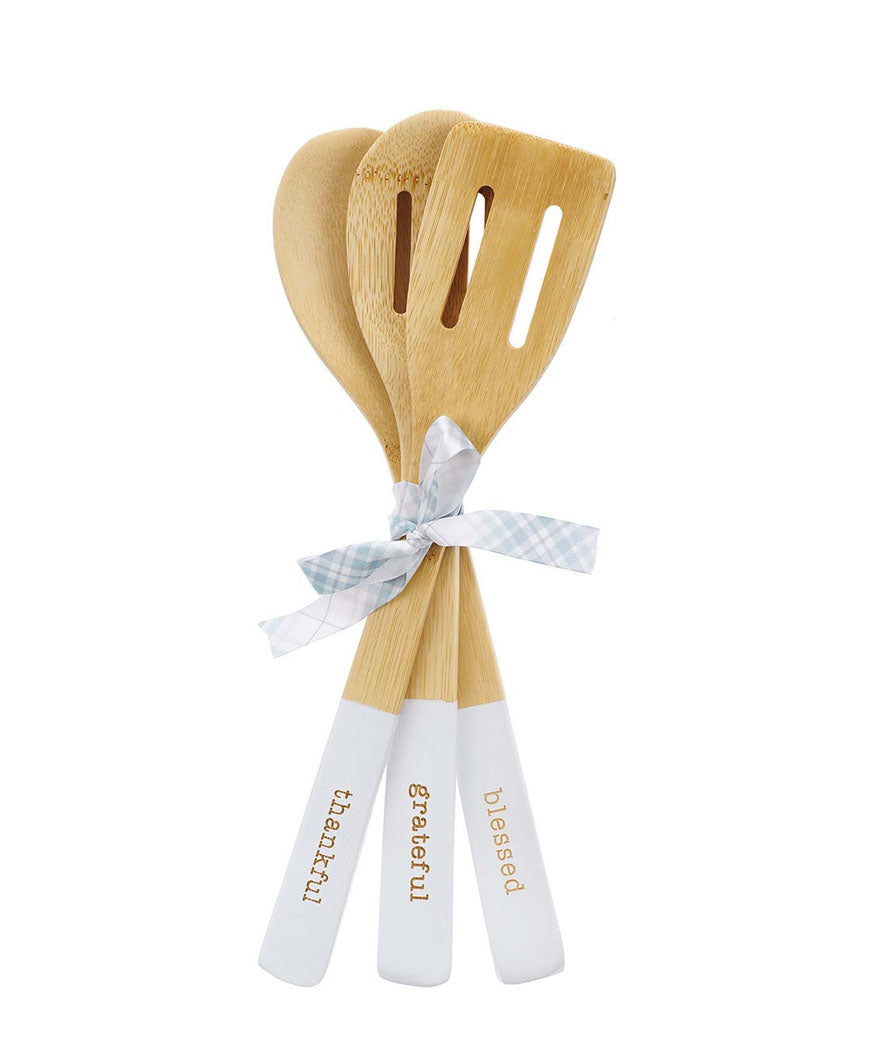 Thankful Grateful Blessed Wooden Spoon Set