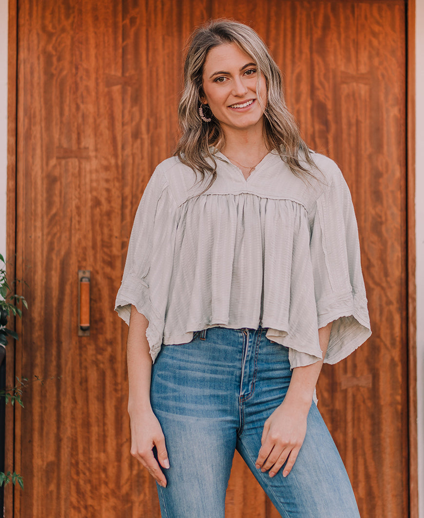 Sage Raw Hem Boho Blouse (IT30041)