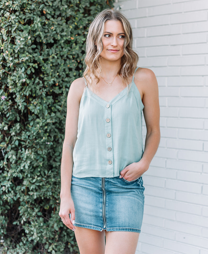 Jade Button Front Cami Tank (16889)