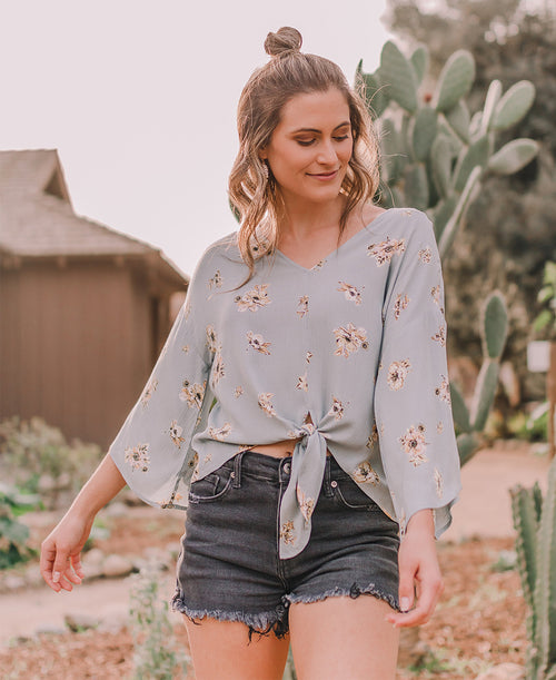 Sage Floral Tie Front Top (IT10219H)