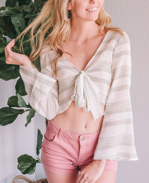 Sage Striped Gauze Tie Front Crop Top