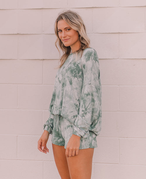 Sage Tie Dye Oversized Lounge Top (15304T)