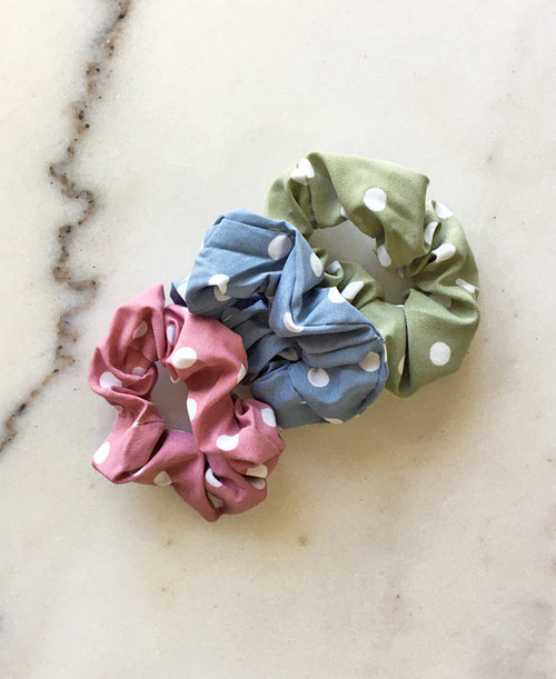 Colorful Polka Dot Scrunchie Set