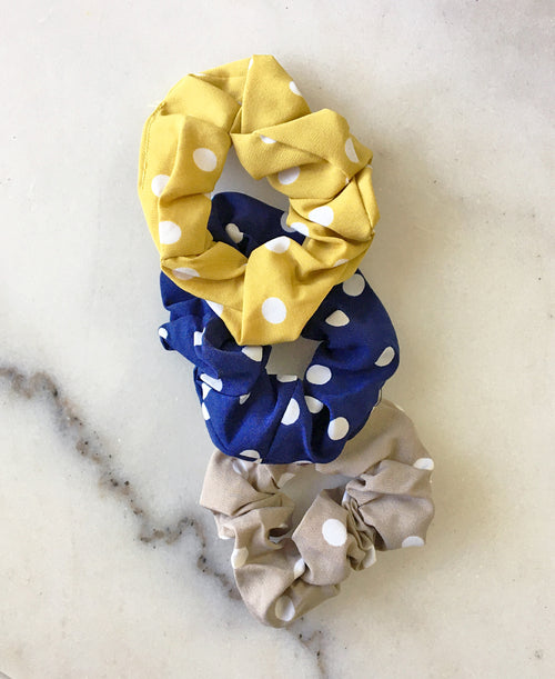 Navy Polka Dot Scrunchie Set