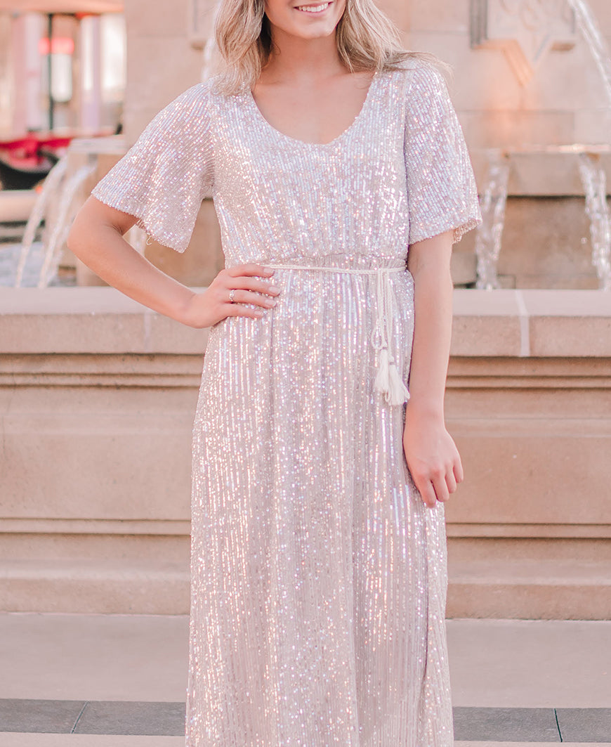 Gold Sequin Maxi Dress (D8069)